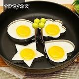 VDHJUK NEW 4Pcs/set Stainless Steel Omelette Egg Frying Mold Love Flower Round Star Molds