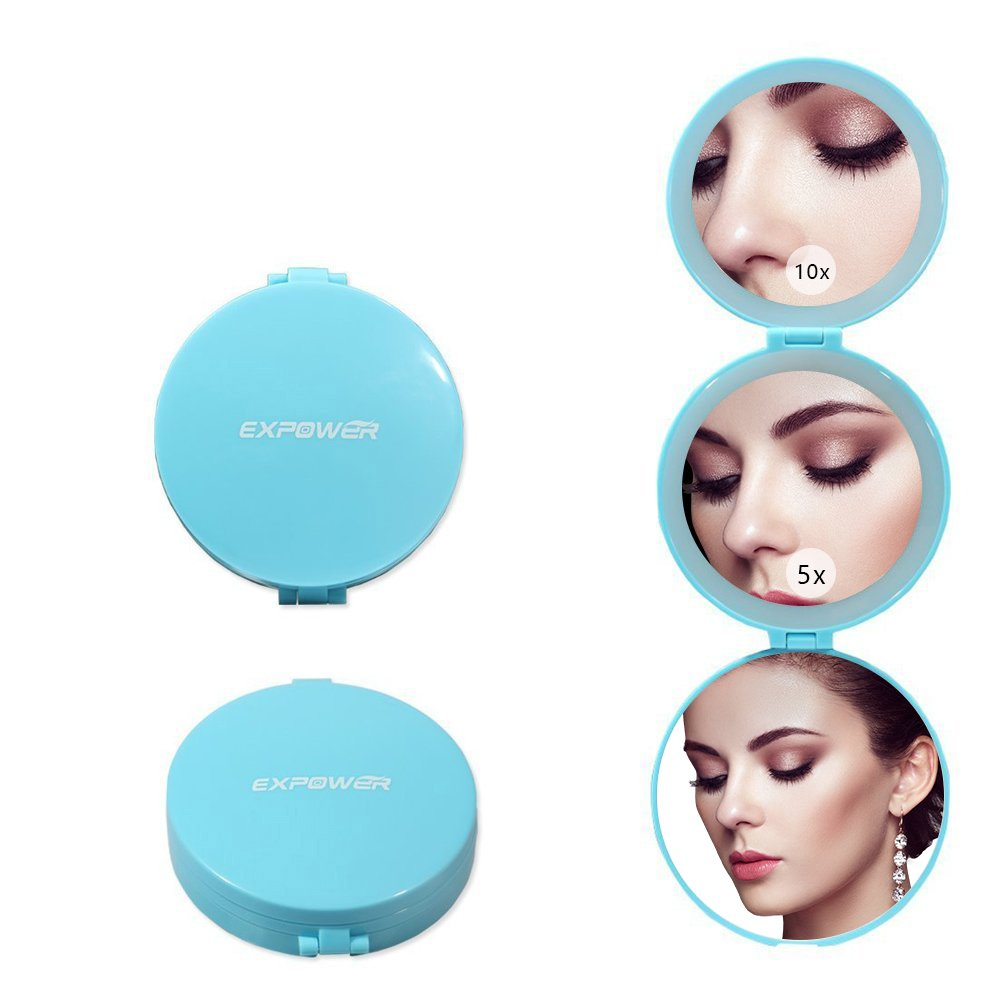 EXPOWER Makeup Mirror Travel Tri-Fold Lighted with Magnification Compact Led Light Vanity Mirrors Folding Illuminating Travel Mirrors Portable Suitable for Purses Bags (Blue) 5 X &10 X Magnifications