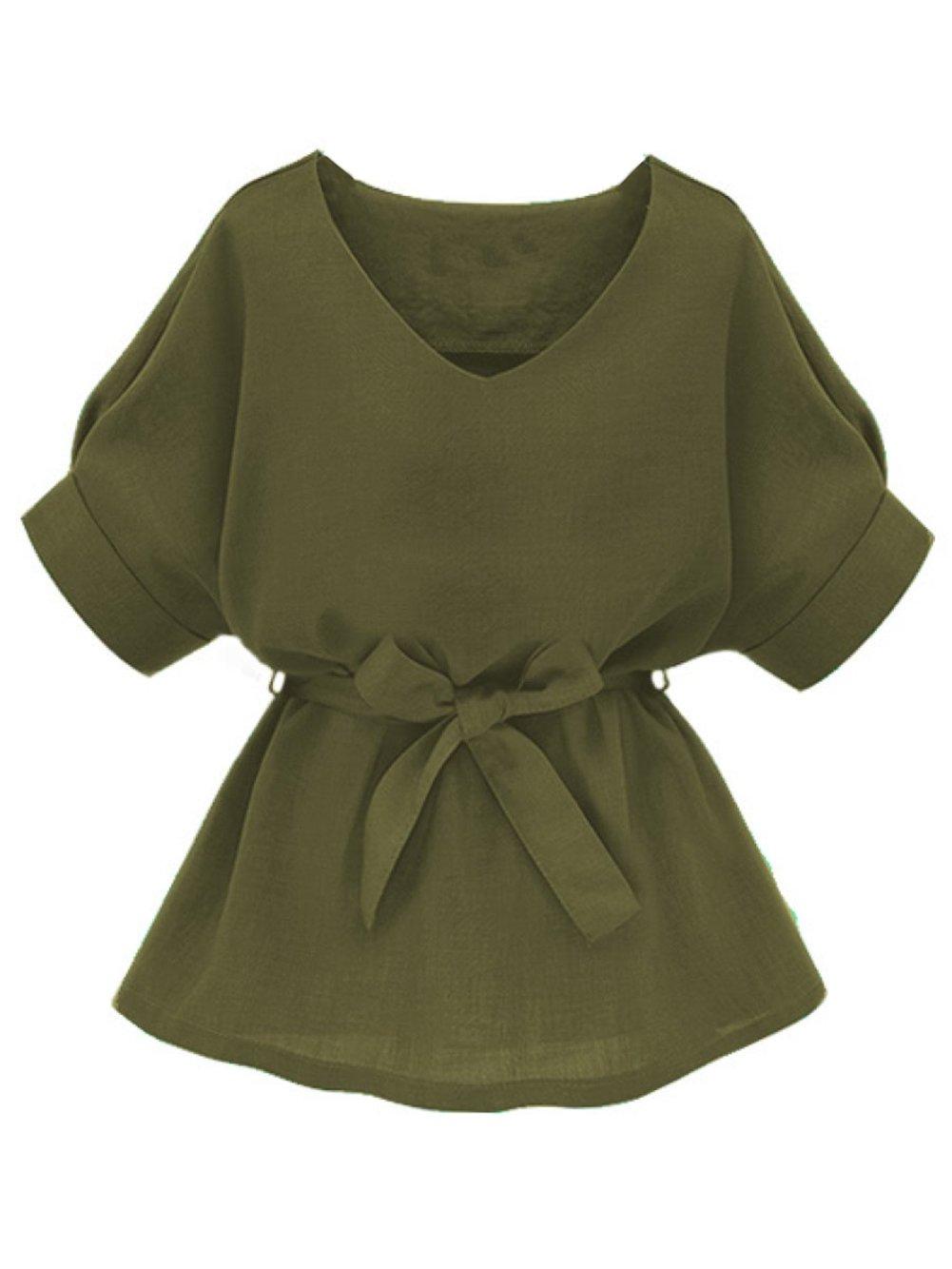 Milumia Womens V Neckline Self Tie Short Sleeve Blouse Tops Army Green Small