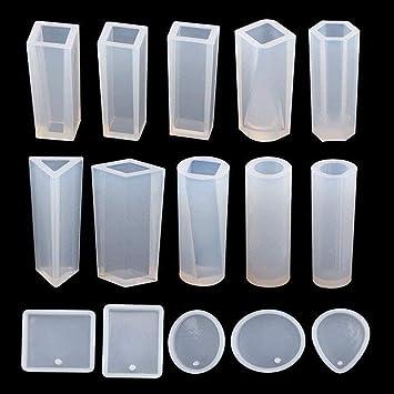 Moldes Silicona Resina Molde de la Joyería, 15 Piezas Resina Colgante Crafting Kit de Moldes para Colgante Collar Pendientes DIY Crafting: Amazon.es: Hogar