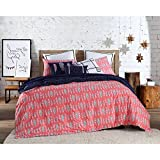 3 Piece Bohemian Chic Feather Patterned Reversible Duvet Set Full/Queen Size, Featuring Bright Bird Feathers Small Geo Polka Dots Bedding, Geometric Shapes Artwork, Whimsical Boho Tribe Style, Pink