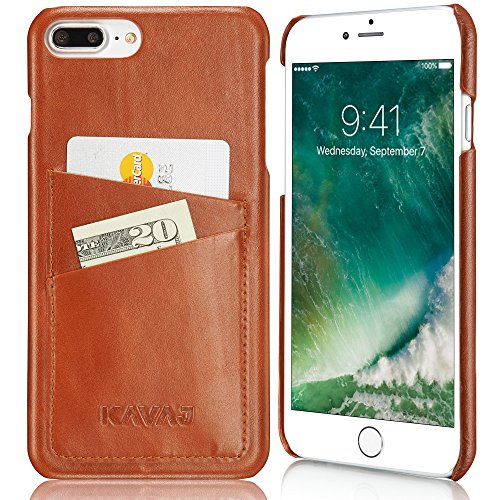 KAVAJ iPhone 8 Plus iPhone 7 Plus Case Leather Tokyo Cognac-Brown Slim-Fit Genuine Leather iPhone 8 Plus Wallet Case Leather Bumper Case with Business Card Holder Cover for Apple iPhone8 Plus