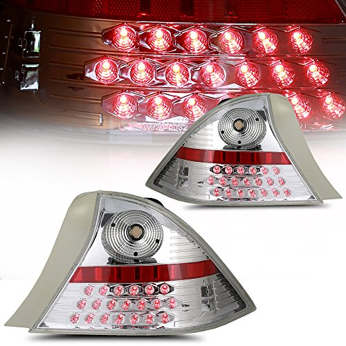 (ECCPP Taillight Assembly Conversion Kit Fit For 2001 2002 2003 HONDA CIVIC 2DR Projector Chrome Housing With Clear Lens Tail Lamp-Plug And Play)