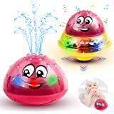 Baby Bath Toys Light Up Bathtub Toys 2 in 1 Automatic Induction Water Spray Toy & Space UFO Car Toys with Light Musical…