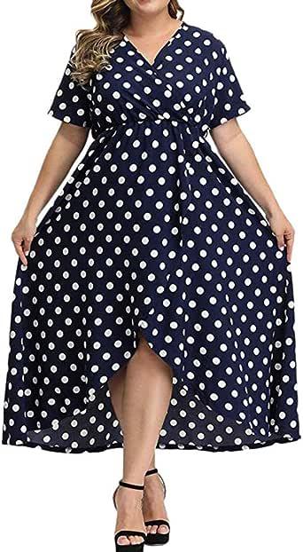 Women Summer Casual Long Dress Plus Size Dot Printed Maxi