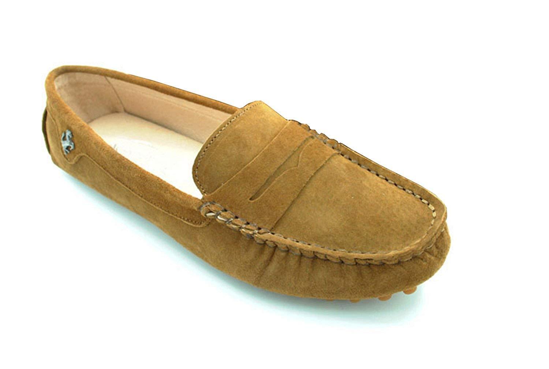 Qiusa Mädchen Damen Casualable Tiefbraun Wildleder Driving Outdoor Stiefelschuhe Loafers Mokassins UK 5.5 (Farbe   - Größe   -)