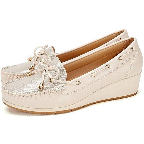 De Imitación Cuero Mocasín Zapatos Náuticos Cuña Mujer Comodos Iq6opw my0wnOvN8