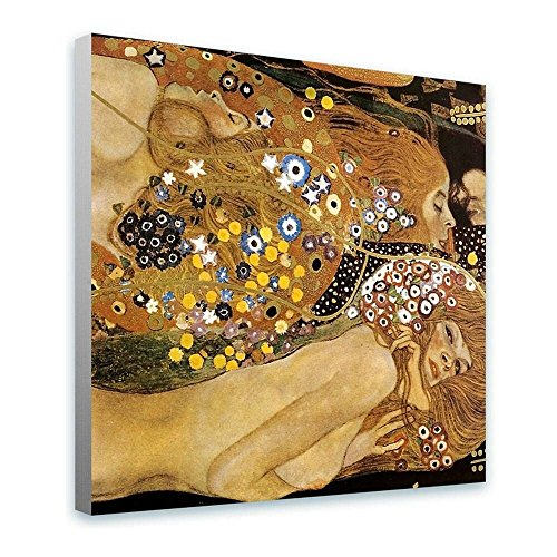 (Alonline Art - Water Serpents Snakes Gustav Klimt Framed Stretched Canvas (100% Cotton) Gallery Wrapped - Ready to Hang | 24