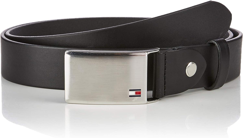 Tommy Hilfiger Logo en Placa Cinturón Ajustable de Piel Auténtica y con Una Hebilla Plateada para Hombre