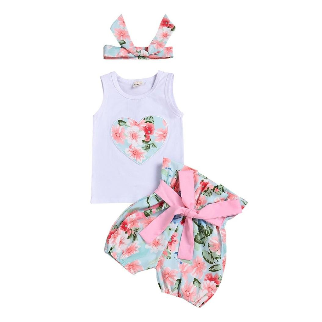 Vincent& July 3pcs Baby Girls Heart Tank+Flower Short Pants+Headband Set