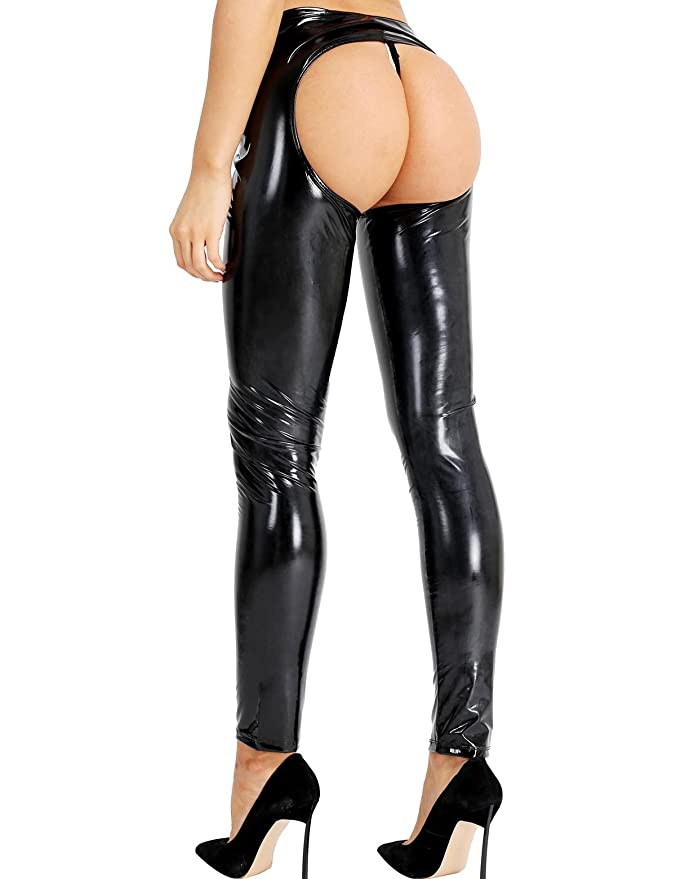 224c06c5d8452 YOOJIA Sexy Women's Metallic Wet Look PVC Leather Open Crotch Backless Skinny  Leggings Long Pants Trousers at Amazon Women's Clothing store: