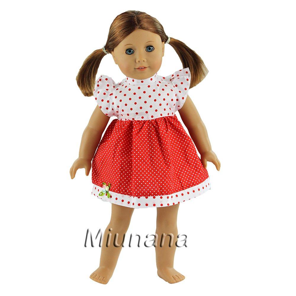 Miunana 1x Vestido Lindo Ropa Casual Vestir con Rojo y Blanco con Lunares como Regalo para 18 pulgadas Mu/ñeca 46 cm American Girl Doll