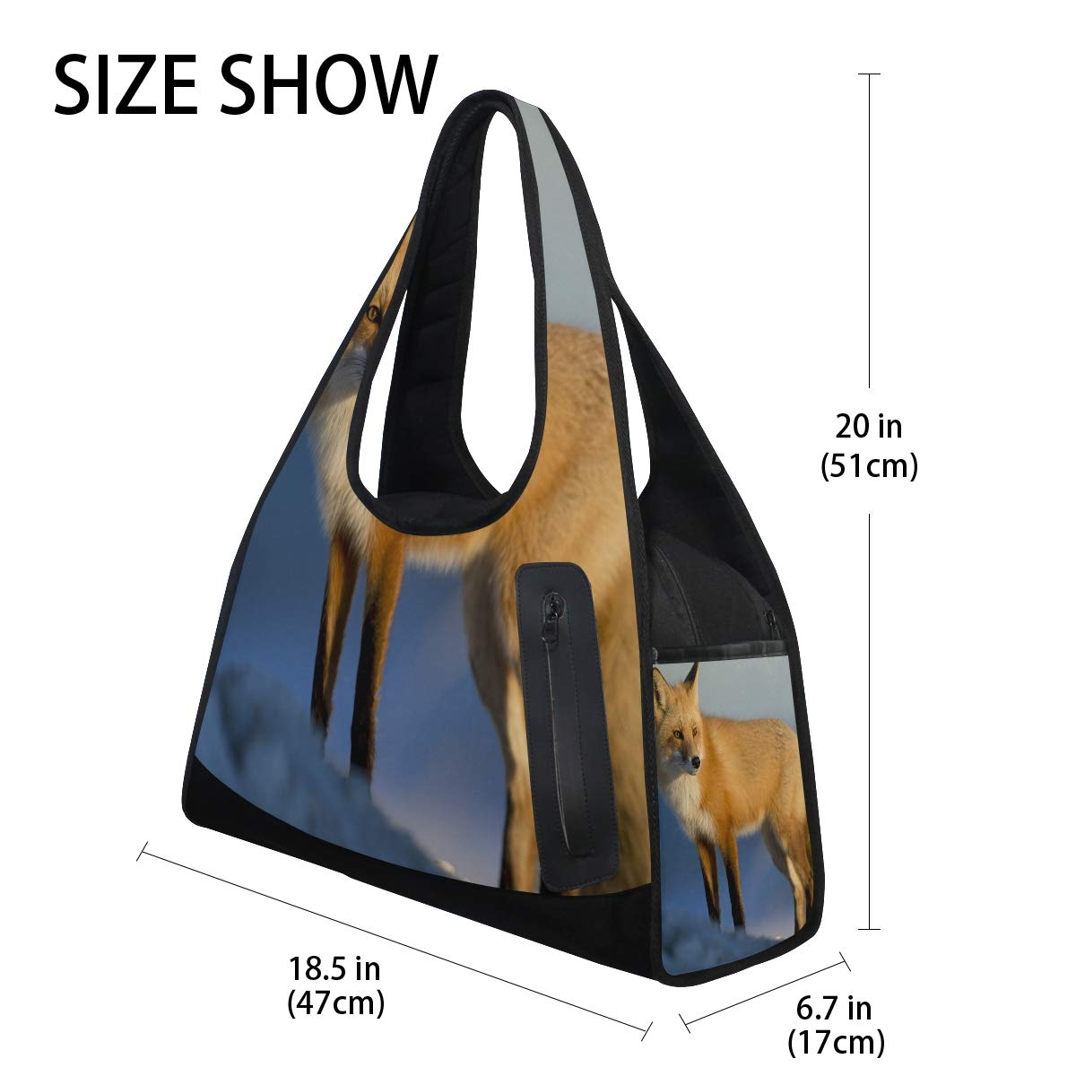 Fox In The Snow Women Sports Gym Totes Bag Multi-Function Nylon Travel Shoulder Bag