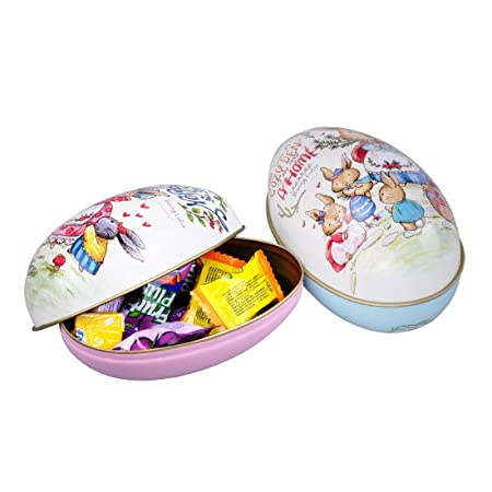 Dewel 2pcs easter egg shaped candy box easter alloy metal trinket dewel 2pcs easter egg shaped candy box easter alloy metal trinket tin gift box party decor negle