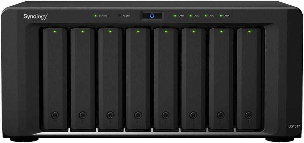 Synology DiskStation DS1817 NAS Escritorio Ethernet Negro - Unidad Raid (24 TB, Unidad de Disco Duro, Unidad de Disco Duro, SSD, M.2, SATA, 3000 GB, 2.5/3.5