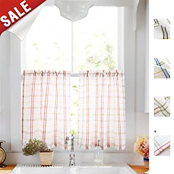 White Tier Curtains Kitchen Red Taupe Check On White Sheer Curtains Classic Buffalo Checkered Linen Textured Gingham Cafe Curtains 36 Inches Long