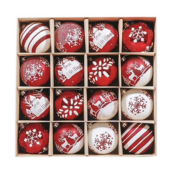 Valery Madelyn Palle di Natale 16 Pezzi 8cm Palline di Natale, Tradizionali Ornamenti di Palle di Natale Infrangibili Rossi e Bianchi per la Decorazione Dell'Albero di Natale 1 spesavip