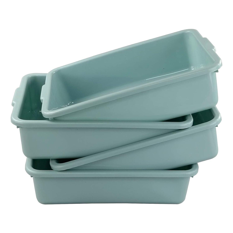 Xyskin Plastic Rectangle Washing up Bowls Basins Utility Tub Trays, Mint Green, 4 Packs