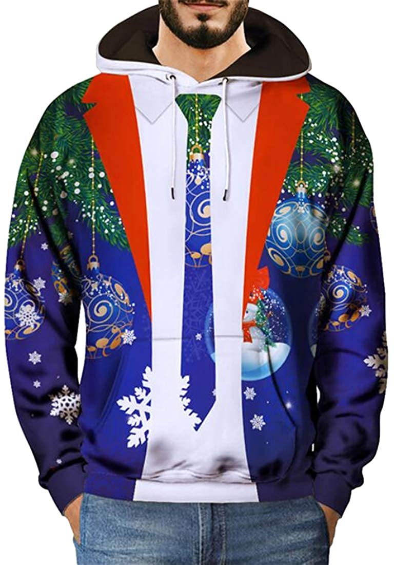 Suncolor8 Mens Fake Two Pieces Plus Size Christmas Loose Fit Floral Print Pullover Hooded Sweatshirt
