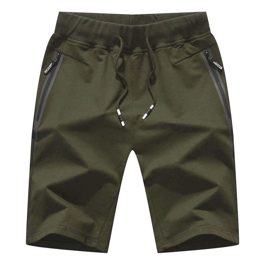 Tansozer Men's Shorts Casual Classic Fit Cotton Jogger Gym Shorts Elastic Waist Zipper Pockets (Army Green, X-Large)
