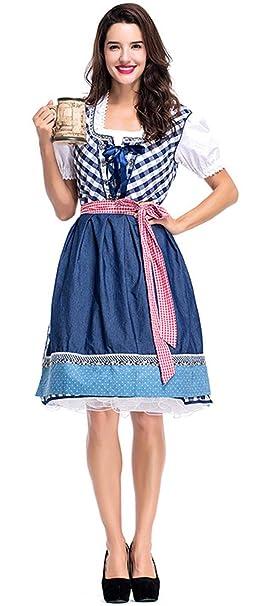 COSAVOROCK Vestido Dirndl Disfraz de Bávara Mujer Traje ...