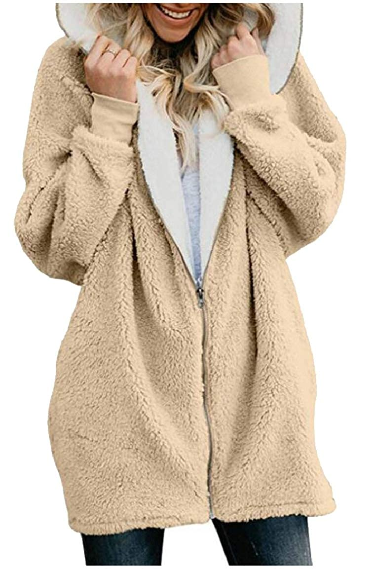 RG-CA Women Oversized Warm Full Zip Up Sherpa Hoodie Fleece Jacket with Pockets