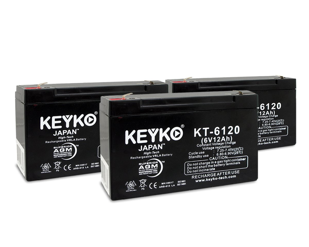 Baxter Healthcare Flo-Hard 6000,6100 Infusion Pump 6V 12Ah SLA Replacement Rechargeable Battery Genuine KEYKO (W/F1 Terminal) - 3 Pack