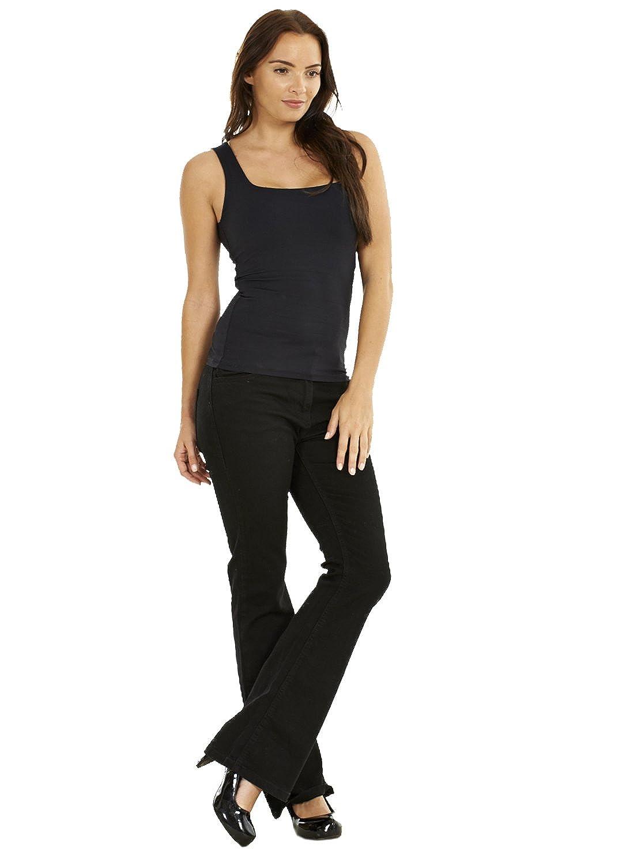 Ex Famous Store Ladies Black Bootcut Cotton Denim Womens Pants Stretch Boot Leg Flare Jeans