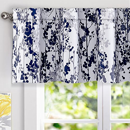 DriftAway Leah Abstract Floral Blossom Ink Painting Window Treatment Valance, Rod Pocket (Navy/Silver/Gray, 52