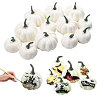 LoveInUSA Artificial Pumpkin, 12 Pcs Fake Pumpkin White 6 x 2.25inch 6 x 3.25inch for Halloween Autumn Thanksgiving Party Decoration Photography Prop