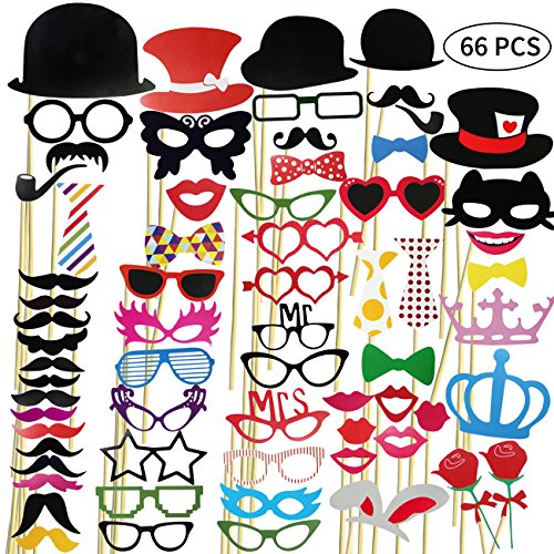 Elongdi Photo Booth Props Kit, 66 Pcs DIY Photo Props Kit for Birthday, Wedding, Christmas and Graduation Party Dress-up Accessories with Mustache, Hats, Glasses, Lips, Bowler, Bowties