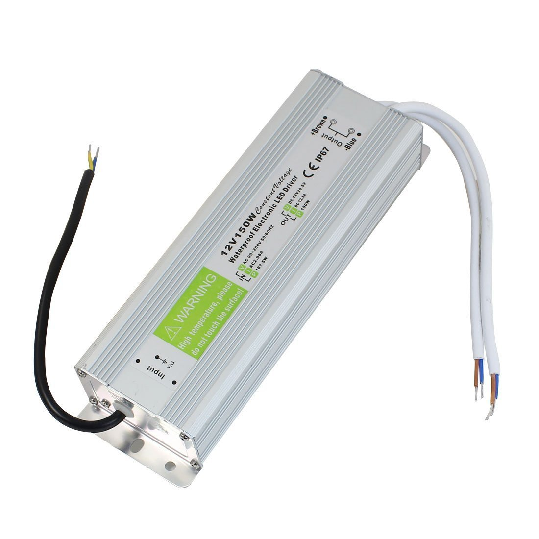 JOYLIT 12V DC Switching Power Supply Transformer IP67 Waterproof 150W 12.5A Low Voltage for LED Strip Lights