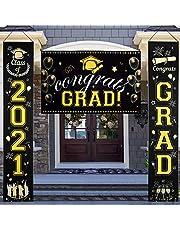 Cartel de graduación y carteles de porche, decoración de graduación, clase de 2021 de felicitaciones para fiestas, banners colgantes de oro negro para decoración de fiestas para interiores y exteriores, patio, porche