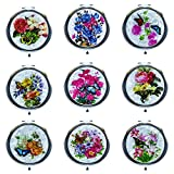 Ladies Premium Cosmetic Compact Mirror Flower Pattern (12 Pack Mix Bundle) (12 Pack)