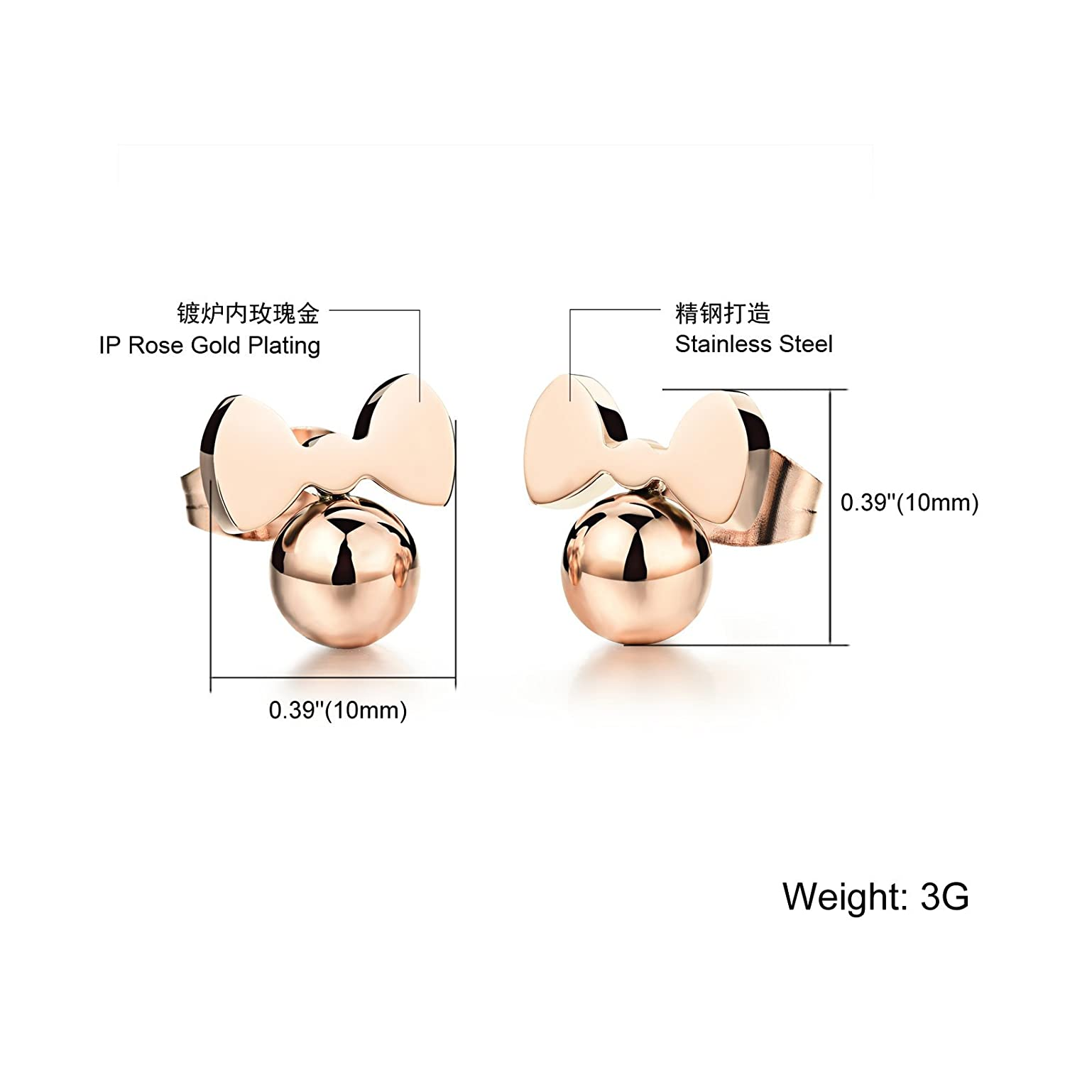 95f85d066 Amazon.com: Fate Love Jewelry Cute Rose Gold Plated Little Mouse Stud  Earrings for Girls Women, Hypoallergenic: Jewelry
