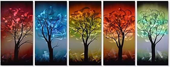 Pure Art from Dusk til Dawn Multi-Colored Tree Metal Wall Art, 3D Wall Art for Modern and Contemporary Decor, Decorative Hanging in 5-Panels Measures 24 x 64 , Works for Indoor and Outdoor Settings