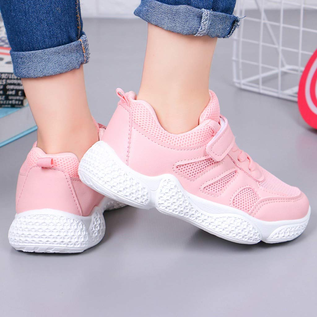 Kids Shoes Girls Hiking Trainers Childrens Non-Slip Jogging Footwear Child Lightweight Low-Top Summer Sneakers Rose 9.5 UK