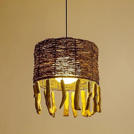 Lámpara, estilo americano campo LED única cabeza de ratán ...