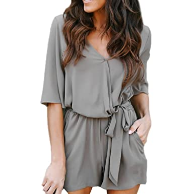 Amazon.com  TOOPOOT Women 3 4 Sleeve Romper Casual Sexy Bodycon Front  Elegant V Neck One Piece Jumpsuit Shorts Overalls  Clothing 54de9dbc85c5