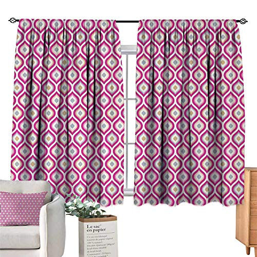 """RuppertTextile Thermal Curtains Abstract,Floral Theme Curvy Nested Elliptic Forms Conceptual Spring Garden,Pink Pale Green Pale Blue for Living, Dining, Bedroom (Pair) 63"""" Wx45 L"""