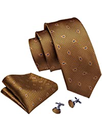 Men Ties Paisley Handkerchief Cufflinks Necktie Set Fashion
