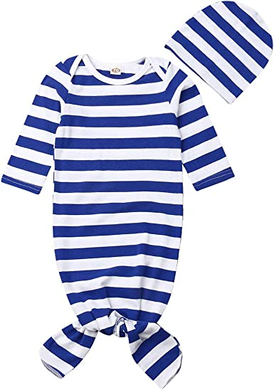 Toddler Newborn Baby Girl Sleepwear Nightgown Stripe Sleeping Gown Headband Sleeping Bags Coming Home Outfits+Hat