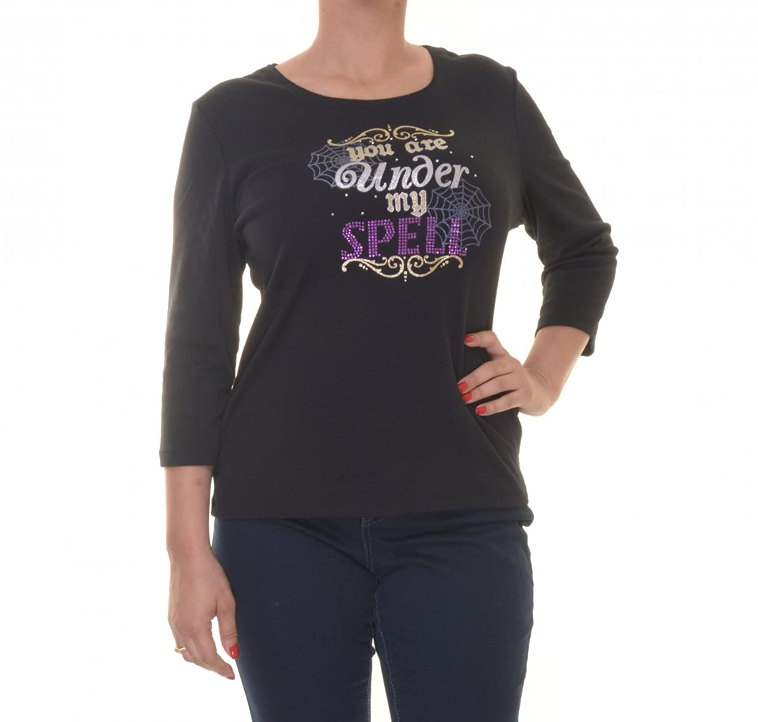 Karen Scott Womens Petites Under My Spell Glitter Embellished Graphic Tee