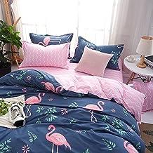 Kimko Kids Flamingo Bedding Set- Children Reversible Pink Flamingo Pattern & Dark Blue Cover -4Pcs -1 Duvet Cover Set + 1 Bed Sheet + 2 Pillowcases (# Flamingo, Twin)