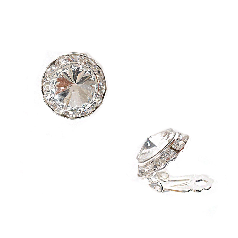 Topwholesalejewel Silver Crystal Rhinestone 15Mm Rondelle Circle Round Shape Clip Earring 23017AC100