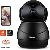 SMTALY C3 Cámara IP 1080P,Cámara Vigilancia WiFi Inalámbrico Interior,Cámara de Seguridad para Detección de Movimiento, Audio Bidireccional, Notificación móvil, Compatible con iOS, Android, PC, Negro