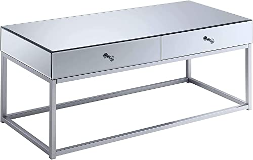 Convenience Concepts Reflections Coffee Table, Mirror Silver