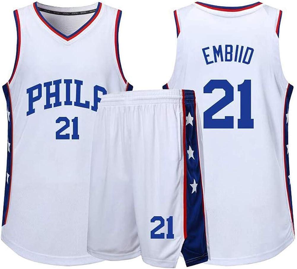 Uniformes de Baloncesto para Adultos y ni/ños Uniforme de Baloncesto Philadelphia 76ers # 21 incluidos Pantalones Cortos Camiseta de Baloncesto Camiseta Deportiva de Verano Joel Embiid