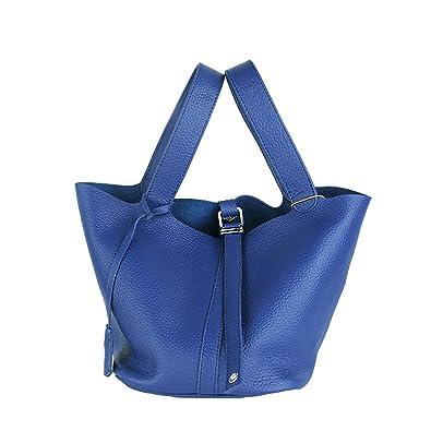 LF-8098 Damen Blau Leder Handtaschen Elegantes Design Henkeltaschen Umhängetaschen,26x20x19cm(LxBxH) Dissa