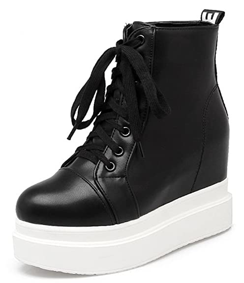 63ca13338f3 IDIFU Women s Casual High Heels Heighten Platform Lace Up Sneakers Ankle  Boots